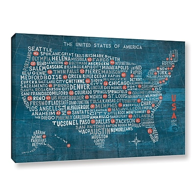 Varick Gallery US City Map on Wood Blue Graphic Art on Wrapped Canvas; 8'' H x 12'' W x 2'' D