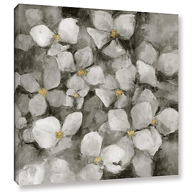 Varick Gallery Midnight Neutral Hydrangeas w/ Gold Painting Print on Wrapped Canvas