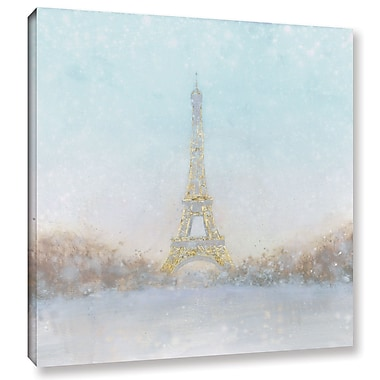Varick Gallery Eiffel Romance No Couple Turquoise Painting Print on Wrapped Canvas