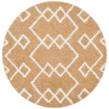Varick Gallery Shead Hand-Tufted Beige/Ivory Area Rug; Round 5' x 5'