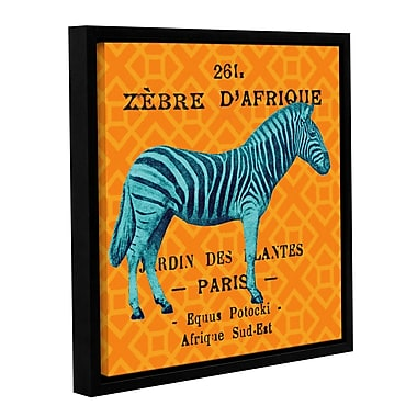 Varick Gallery Bright Safari Zebra Framed Graphic Art on Wrapped Canvas; 36'' H x 36'' W x 2'' D