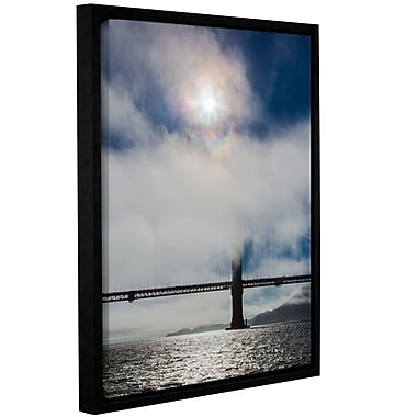 Varick Gallery Golden Gate Silhouette and Rainbow Framed Photographic Print on Wrapped Canvas
