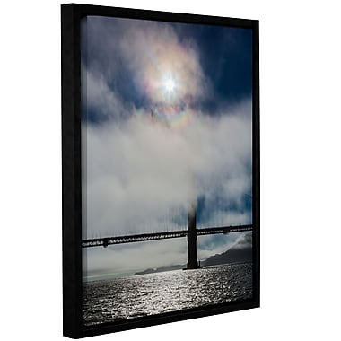 Varick Gallery Golden Gate Silhouette and Rainbow Darker Framed Photographic Print on Wrapped Canvas