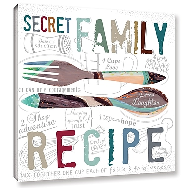 Varick Gallery 'Family Recipe Textual' Art on Wrapped Canvas; 18'' H x 18'' W x 2'' D