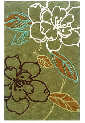 Varick Gallery Askins Hand-Tufted Green Area Rug; 5' x 7'