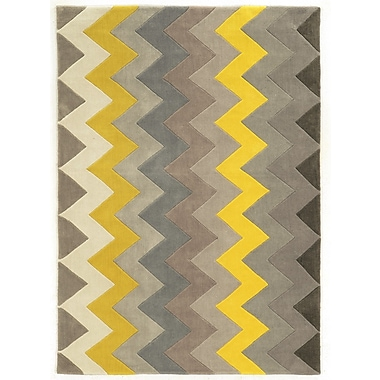 Varick Gallery Askins Hand-Tufted Grey/Yellow Area Rug; 1'10'' x 2'10''