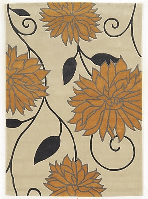 Varick Gallery Askins Hand-Tufted Ivory/Gold Area Rug; 1'10'' x 2'10''
