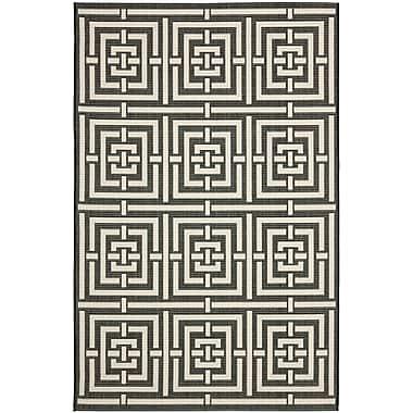 Varick Gallery Schafer Abstract Black Indoor/Outdoor Area Rug; 4' x 5'7''