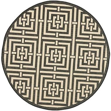 Varick Gallery Schafer Abstract Black Indoor/Outdoor Area Rug; Round 5'3''