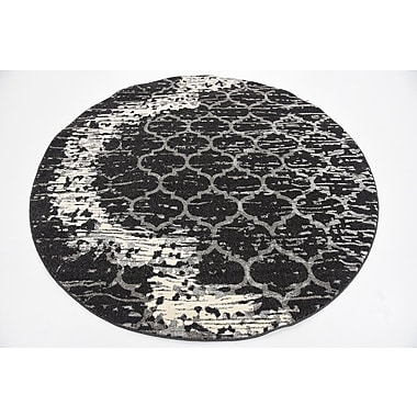 Varick Gallery Steinbeck Charcoal Gray Area Rug; Round 6'