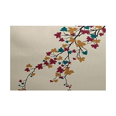 Varick Gallery Courts Maple Hues Flower Print Teal Indoor/Outdoor Area Rug; 3' x 5'