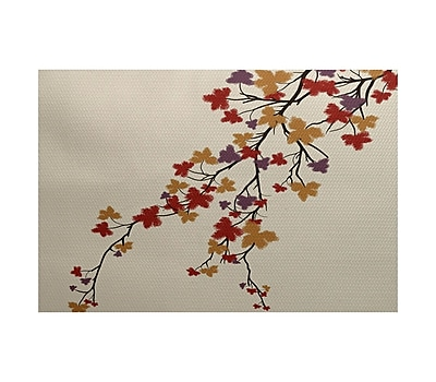 Varick Gallery Courts Maple Hues Flower Print Purple Indoor/Outdoor Area Rug; 3' x 5'