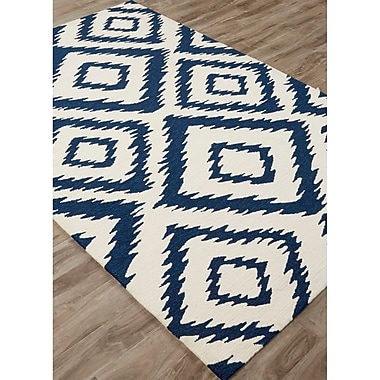 Varick Gallery Throncliffe Hand-Hooked Ivory/Blue Indoor/Outdoor Area Rug; 7'6'' x 9'6''