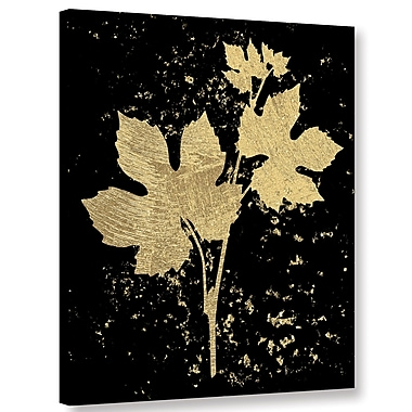 Varick Gallery Gold Splatter Leaf Graphic Art on Wrapped Canvas; 24'' H x 18'' W x 2'' D
