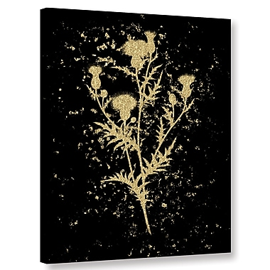Varick Gallery Gold Splatter Thistle Graphic Art on Wrapped Canvas; 32'' H x 24'' W x 2'' D