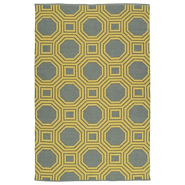 Varick Gallery Littleton Yellow/Gray Indoor/Outdoor Area Rug; 5' x 7'6''