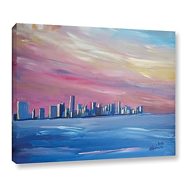 Varick Gallery Miami Skyline Painting Print on Wrapped Canvas; 36'' H x 48'' W x 2'' D