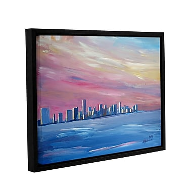 Varick Gallery Miami Skyline Framed Painting Print; 18'' H x 24'' W x 2'' D