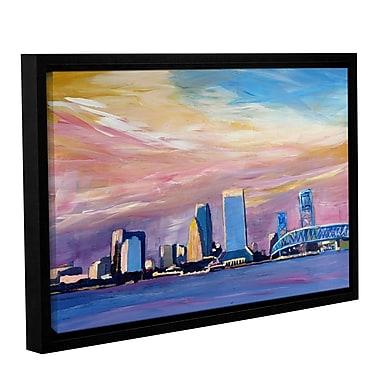 Varick Gallery Jacksonville Florida Skyline Framed Painting Print; 24'' H x 36'' W x 2'' D