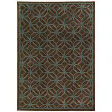 Varick Gallery Halloran Brown/Blue Area Rug; 7'10'' x 10'
