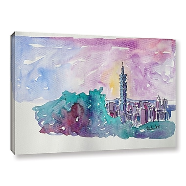 Varick Gallery Taipei Skyline Painting Print on Wrapped Canvas; 8'' H x 12'' W x 2'' D