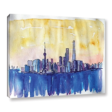 Varick Gallery Stunning Shanghai Skyline Painting Print on Wrapped Canvas; 8'' H x 10'' W x 2'' D