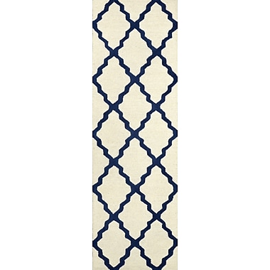 Varick Gallery Tadlock Blue Moroccan Trellis Area Rug; Runner 2'6'' x 8'