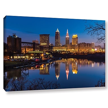 Varick Gallery Cleveland Skyline River Reflection Sunrise Photographic Print on Wrapped Canvas