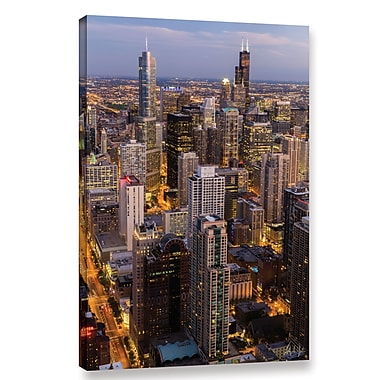 Varick Gallery Chicago Skyline at Dusk Vertical Photographic Print on Wrapped Canvas