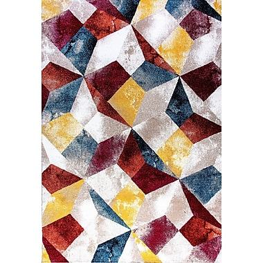 Varick Gallery Sanibel Blue/Yellow/Red Area Rug; 3'11'' x 5'3''