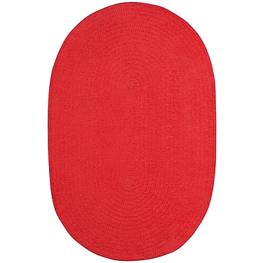 Varick Gallery Yonkers Braided Red Area Rug; Oval 2' x 3'