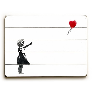 Varick Gallery Girl Chasing Heart Painting Print on Wood; 25'' H x 34'' W x 1'' D