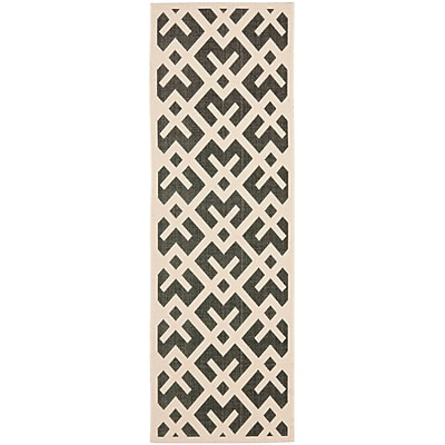 Varick Gallery Jefferson Place Black & Beige Indoor/Outdoor Area Rug; Runner 2'3'' x 8'