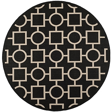 Varick Gallery Jefferson Place Black / Beige Outdoor Rug; Round 7'10''
