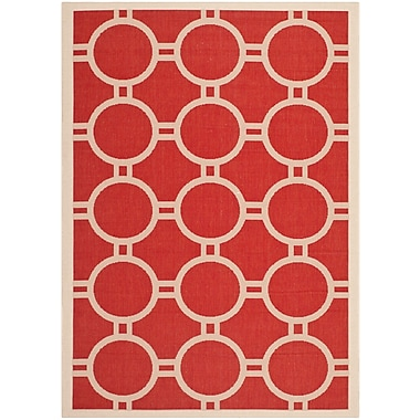 Varick Gallery Jefferson Place Red/Bone Outdoor Rug; 5'3'' x 7'7''
