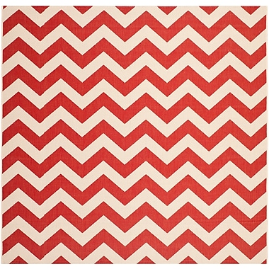 Varick Gallery Jefferson Place Red Indoor/Outdoor Area Rug; Square 4'