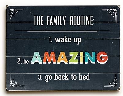 Varick Gallery Family Routine Textual Art Plaque; 14'' H x 20'' W x 0.75'' D