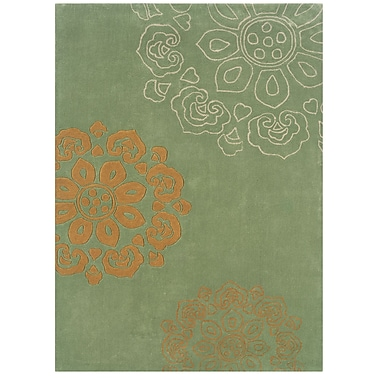 Varick Gallery West Wick Hand-Tufted Green Area Rug; 5' x 7'