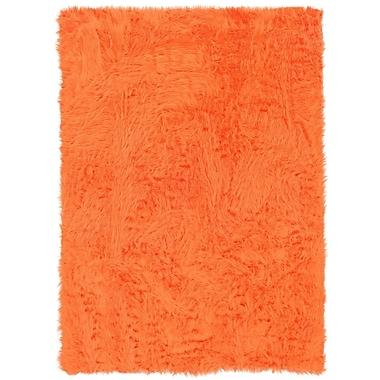 Varick Gallery Boley Faux Sheepskin Hand-Tufted Orange Area Rug; 5' x 7'