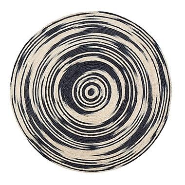 Varick Gallery Calle Handmade Black/Tan Area Rug; Round 6'