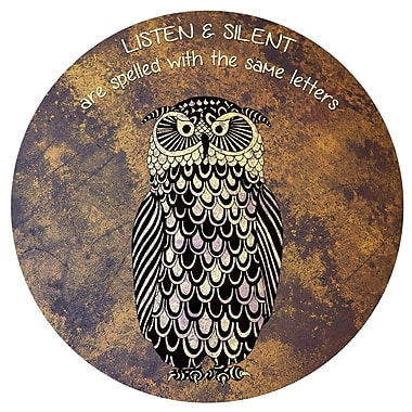 Varick Gallery Round 'Silent and Listen' Graphic Art on Metal