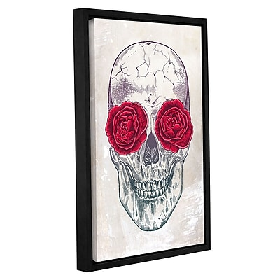 Varick Gallery 'Skull and Roses' Framed Graphic Art Print on Canvas; 12'' H x 8'' W x 2'' D