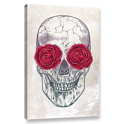 Varick Gallery 'Skull and Roses' Graphic Art Print on Canvas; 24'' H x 16'' W x 2'' D