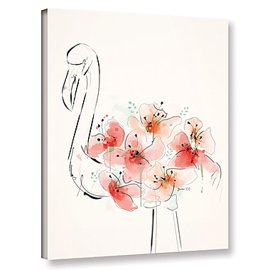 Varick Gallery 'Flamingo Flowers' Painting Print on Canvas; 48'' H x 36'' W x 2'' D