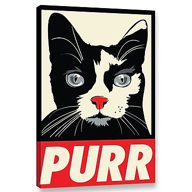 Varick Gallery 'Purr Propaganda' Graphic Art Print on Canvas; 18'' H x 12'' W x 2'' D
