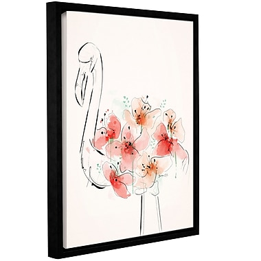 Varick Gallery 'Flamingo Flowers' Framed Painting Print on Canvas; 10'' H x 8'' W x 2'' D