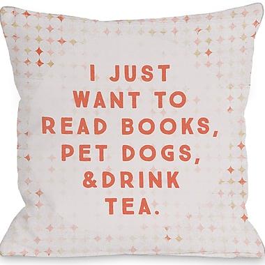 Varick Gallery Palmerston Read Books Pet Dogs Drink Tea Throw Pillow; 16'' H x 16'' W x 3'' D