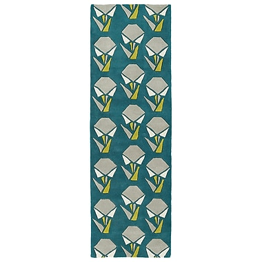 Varick Gallery Ronnie Hand-Tufted Teal Area Rug; Runner 2'6'' x 8'