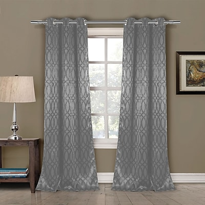 Varick Gallery South Perth Geometric Blackout Curtain Panels (Set of 2); Gray