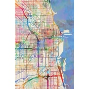 'Urban Rainbow Street Map Series: Chicago, Illinois, USA' Graphic Art on Wrapped Canvas